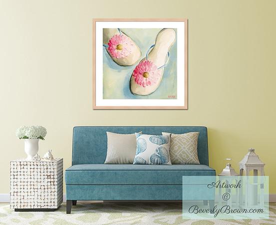 Beach House Chic Living Room - Beverly Brown Art Prints