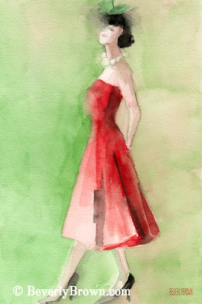 Vintage Red Cocktail Dress Fashion Art - Beverly Brown Art Prints