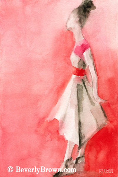 White Dress Red Belt Fashion Art - Beverly Brown Art Prints