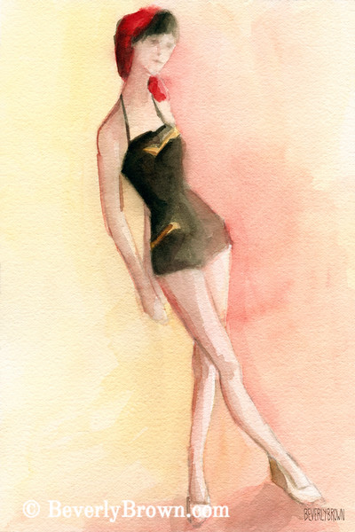 Brown Vintage Bathing Suit II Fashion Art - Beverly Brown Art Prints