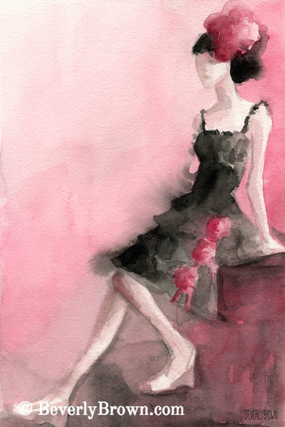 Black Dress with Roses Fashion Art - Beverly Brown Art Prints