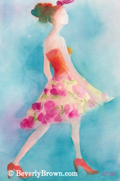 Woman in Pink Flowered Skirt Fashion Art - Beverly Brown Art Prints
