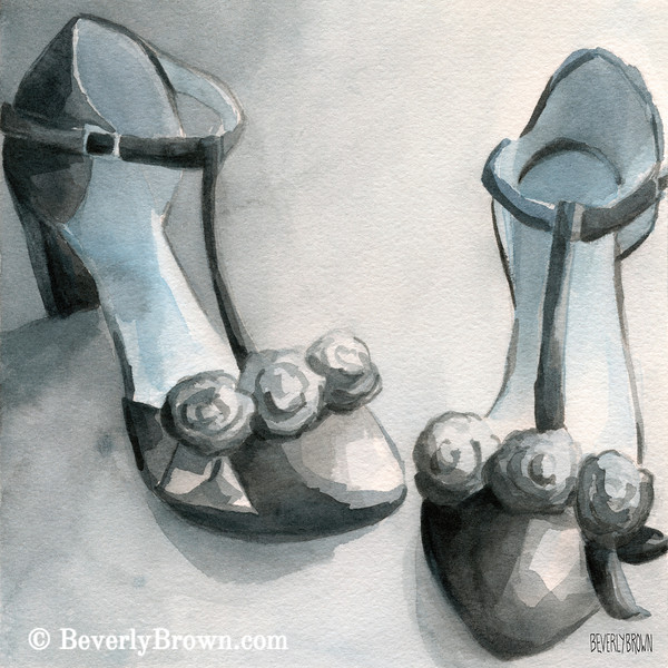 Black T-srap Shoes Painting - Beverly Brown Art Prints