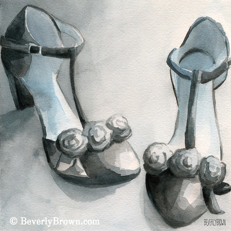Black T-straps watercolor paintings of shoes for sale - framed prints and canvas art.