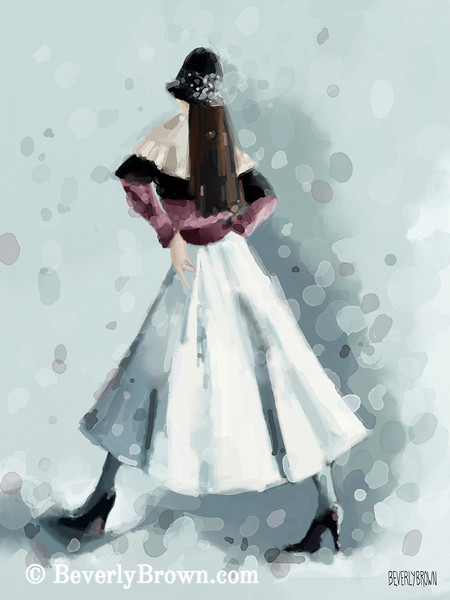 Long White Skirt Black Sequined Hat Fashion Art - Beverly Brown Art Prints