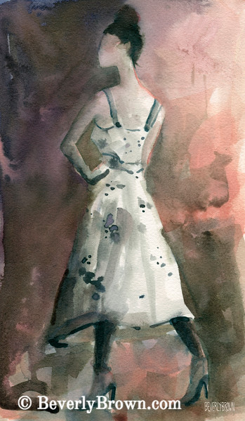 Woman in White Dotted Dress Fashion Art - Beverly Brown Art Prints
