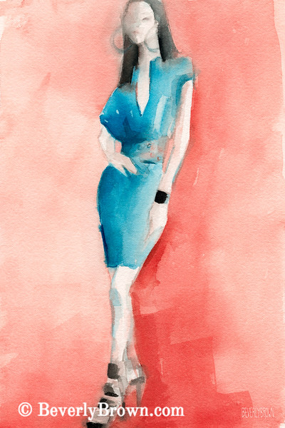 Turquoise Dress Fashion Art - Beverly Brown Art Prints