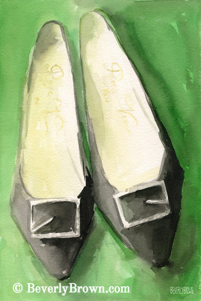 Roger Vivier Black Shoes Painting - Beverly Brown Art Prints
