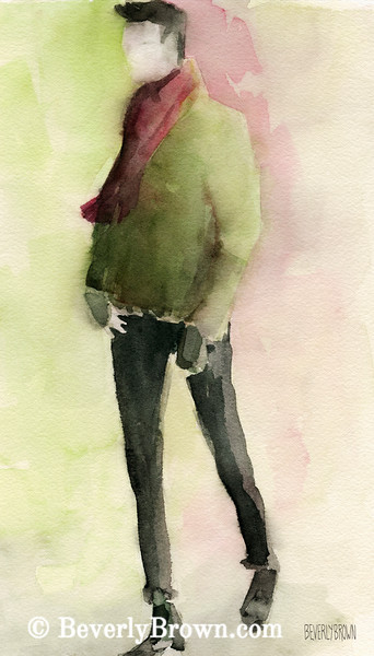 Man in Green Jacket Fashion Art - Beverly Brown Art Prints