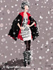 Red + Black Cape in the Snow Fashion Art - Beverly Brown Art Prints
