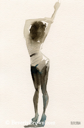Buy a custom print. The back of a woman in sepia watercolor with a touch of blue. One of a pair of paintings.