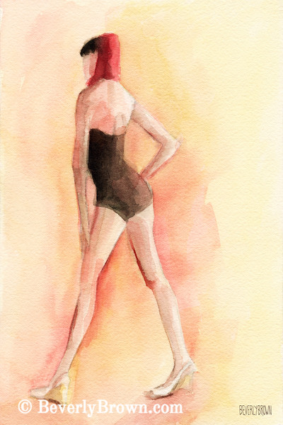 Brown Vintage Bathing Suit I Fashion Art - Beverly Brown Art Prints