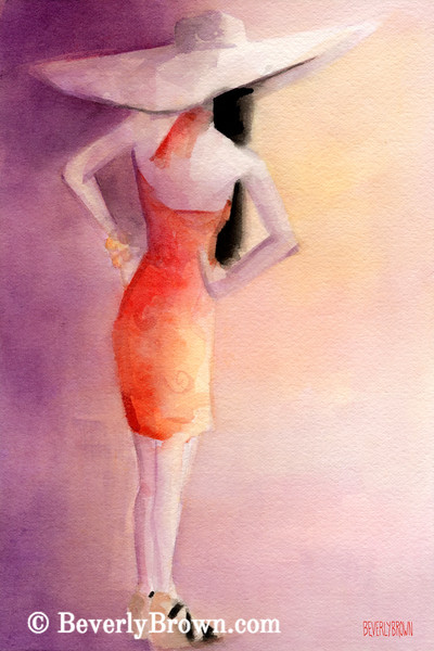 White Hat + Orange Sundress Fashion Art - Beverly Brown Art Prints