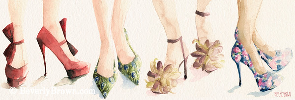 Buy a custom print. Panoramic watercolor painting of spring shoes.