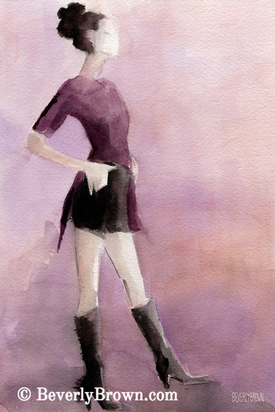 Woman in a Plum Colored Shirt Fashion Art - Beverly Brown Art Prints