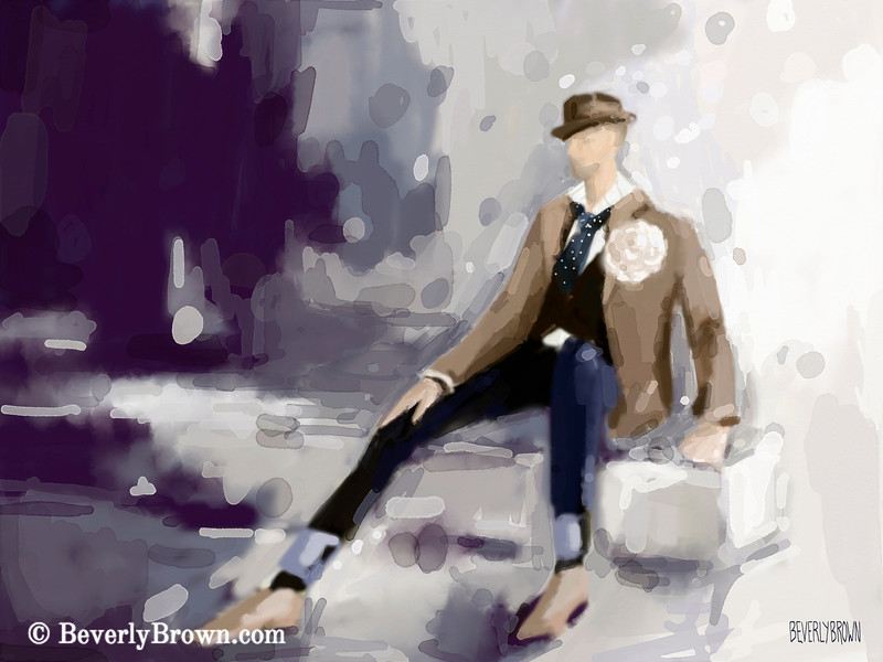 Man in Fedora Men's Fashion Art - Beverly Brown Art Prints