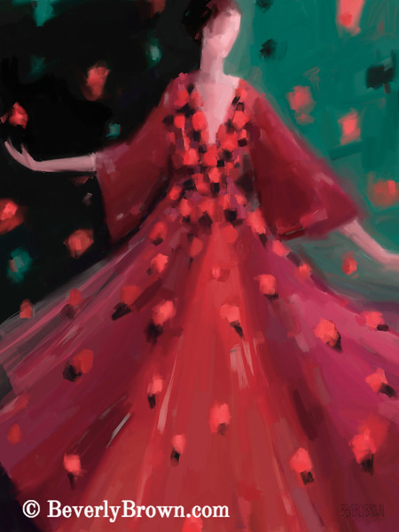 Red and Orange Petal Dress Fashion Art - Beverly Brown Prints
