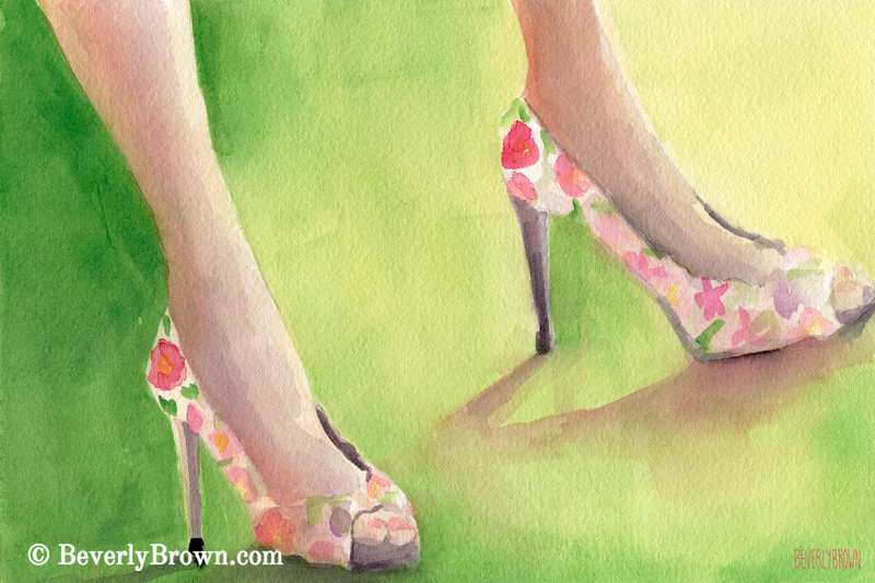 Flowered Shoes Painting - Beverly Brown Art Prints