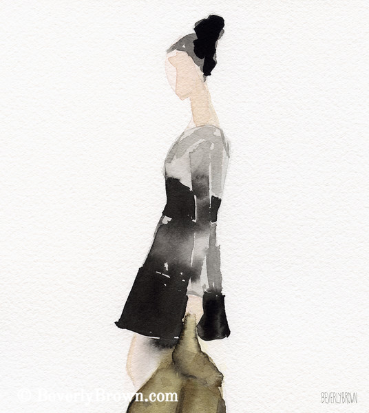 Woman in Black Gray Dress Fashion Art - Beverly Brown Art Prints