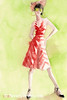 Red + White Striped Dress Fashion Art - Beverly Brown Art Prints