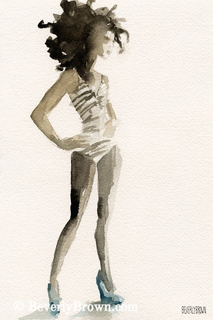 Buy a custom print. Fashion model painted in sepia watercolor with a touch of blue. One of a pair of paintings.