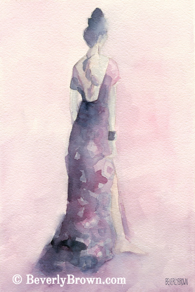 Purple + Pink Evening Dress Fashion Art - Beverly Brown Art Prints