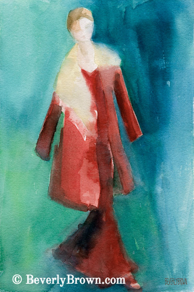 Red Coat Long Dress Fashion Art - Beverly Brown Art Prints