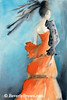 Orange Evening Dress Fashion Art - Beverly Brown Art Prints