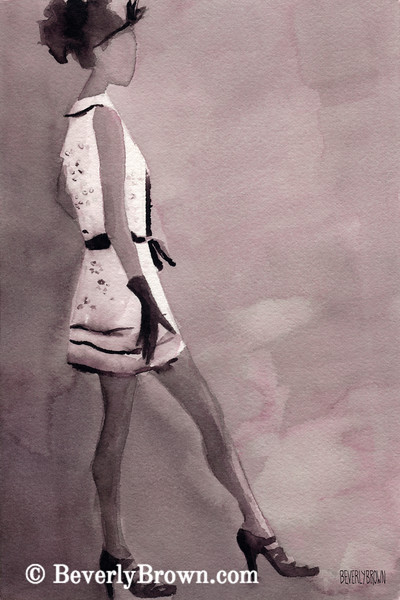 Woman Black White Mini Dress Fashion Art - Beverly Brown Art Prints
