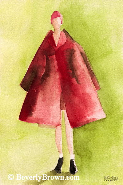 Red Coat High Fashion Art - Beverly Brown Art Prints