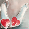 Red Heart Shoes Painting - Beverly Brown Art Prints