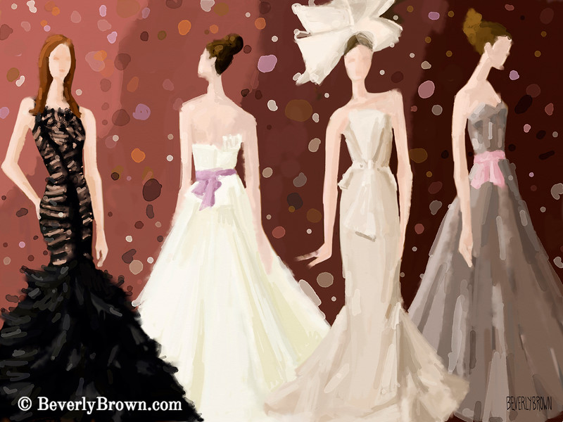 Inspired by Vera Wang Bridal Dresses Fashion Art - Beverly Brown Art Prints