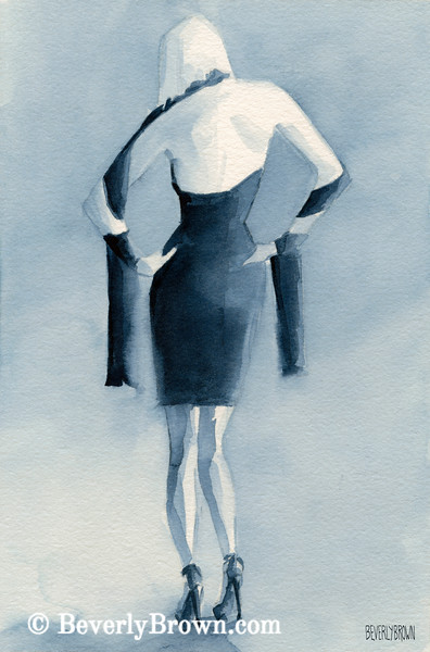 Woman Blue Dress Back Fashion Art - Beverly Brown Art Prints