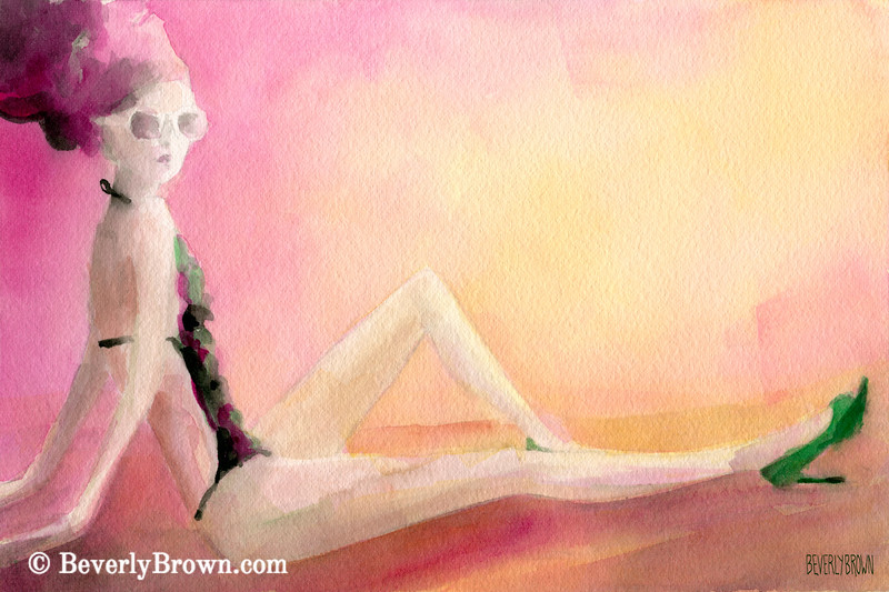 Flowered Bathing Suit Fashion Art - Beverly Brown Art Prints