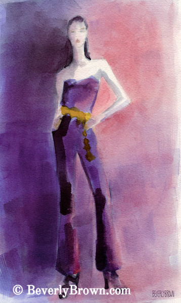 Woman in Purple Jumpsuit High Fashion Art - Beverly Brown Art Prints