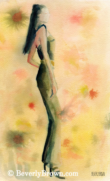 Woman in Green Jumpsuit Fashion Art - Beverly Brown Art Prints