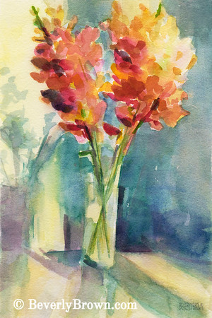 Snapdragons in Morning Light Floral Watercolor