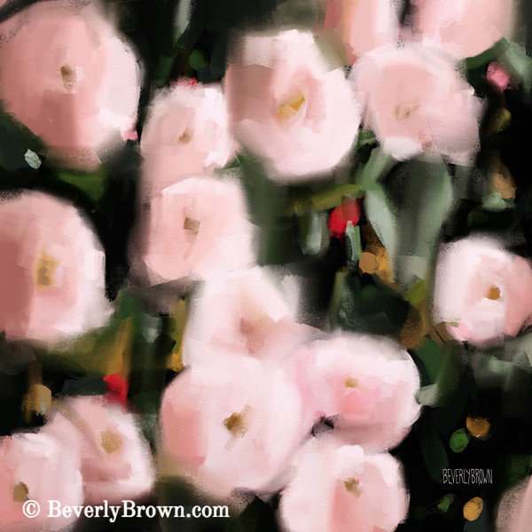 Abstract Roses Peach and Light Pink