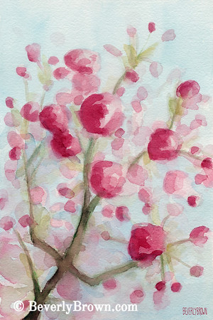 Buy a custom print. An impressionist watercolor painting of pink cherry blossoms.
