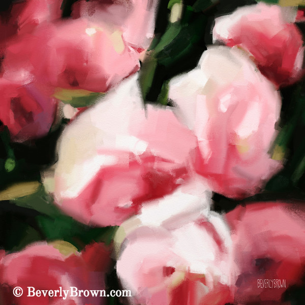Abstract Roses Dark and Light Pink