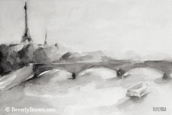 Bridge on the Seine black and white Paris painting by Beverly Brown. French wall art for sale at www.beverlybrown.com