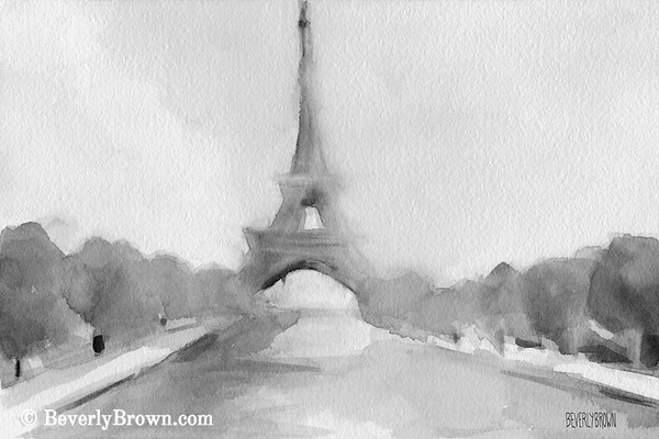 Eiffel Tower Black and white Paris painting by Beverly Brown. French wall art for sale at www.beverlybrown.com