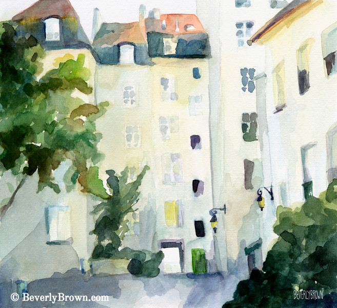 Village St. Paul Marais Paris Painting - Beverly Brown Art Prints