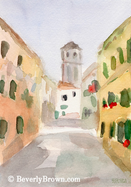 Geraniums Cannaregio Venice Painting - Beverly Brown Art Prints
