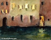 Yellow Windows at Night Venice Painting - Beverly Brown Art Prints