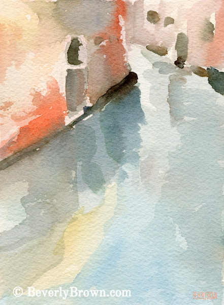 Canal Reflection Venice Painting - Beverly Brown Art Prints