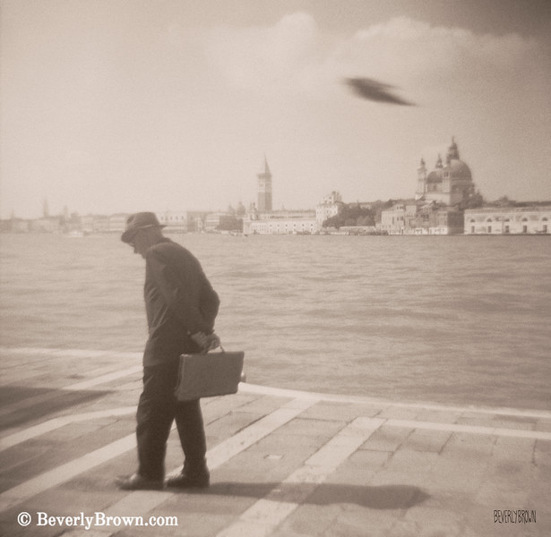 Man in Fedora + Bird Venice Italy - Beverly Brown Art Prints