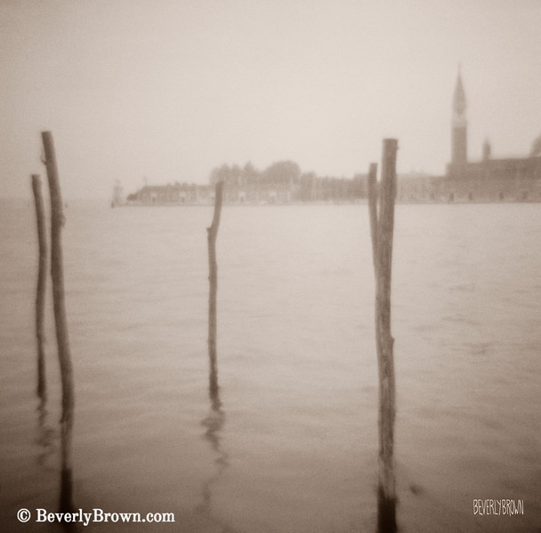 Moorings in Foreground Venice Italy Photograph - Beverly Brown Art Prints