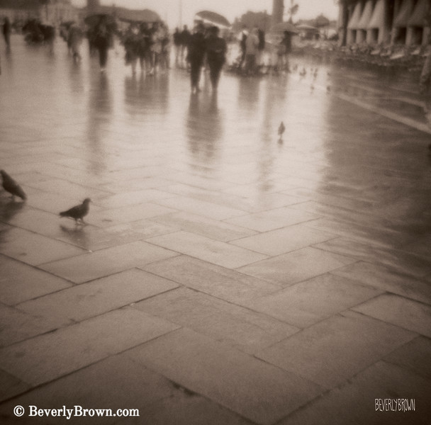 Couple Walking Rain San Marco Venice - Beverly Brown Art Prints