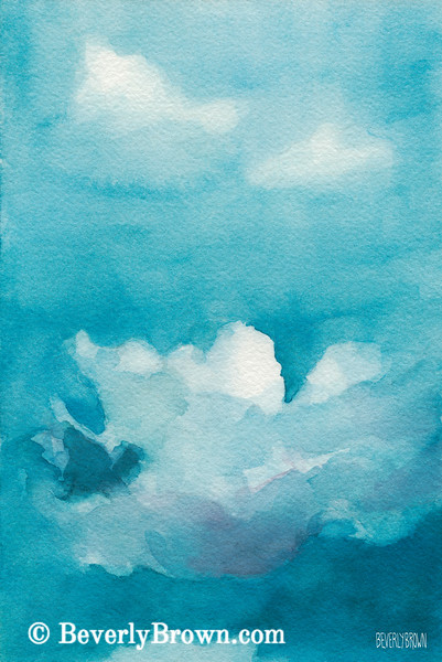 Blue Sky White Clouds Painting - Beverly Brown Art Prints
